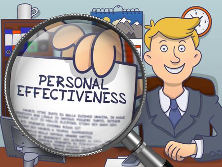 effectiveness: Business Man in Suit Showing Paper with Text Personal Effectiveness through Lens. Closeup View. Multicolor Doodle Style Illustration.