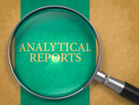 analytical: Analytical Reports through Loupe on Old Paper with Blue Vertical Line Background. 3D Render.