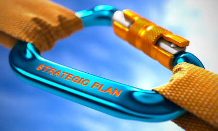 strategic focus: Strong Connection between Blue Carabiner and Two Orange Ropes Symbolizing the Strategic Plan. Selective Focus. 3D Render.