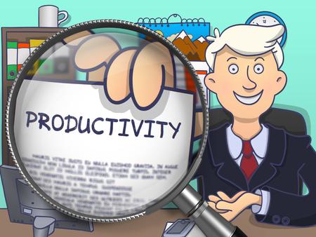 productividad: Productividad. El hombre de negocios da la bienvenida en la oficina y la Muestra de papel con la inscripción a través de la lupa. Ilustración multicolor línea de estilo moderno Doodle.