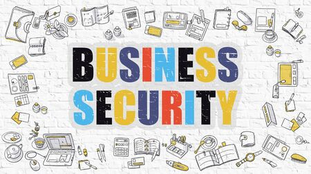 stocktaking: Multicolor Concept - Business Security - on White Brick Wall with Doodle Icons Around. Modern Illustration with Doodle Design Style. Stock Photo