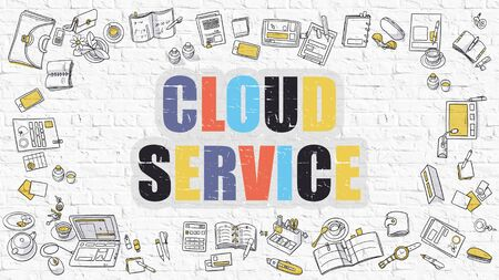 wall cloud: Cloud Service - Multicolor Concept with Doodle Icons Around on White Brick Wall Background. Modern Illustration with Elements of Doodle Design Style. Stock Photo