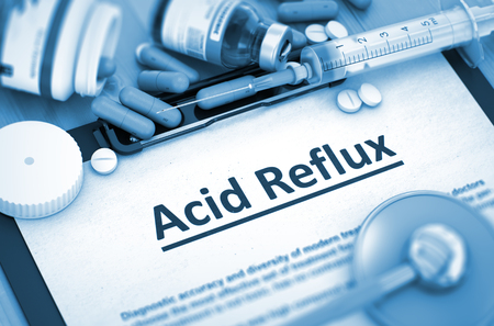 acid reflux: Diagnosis - Acid Reflux on Background of Medicaments Composition - Pills, Injections and Syringe. Acid Reflux Diagnosis, Medical Concept. Composition of Medicaments. 3D Render. Toned Image. Stock Photo