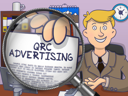 QRC Advertising. Man in Office Showing a through Magnifier Paper with Concept. Colored Modern Line Illustration in Doodle Style. Stock Photo