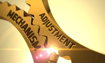 adjustment: Adjustment Mechanism Golden Cogwheels. Adjustment Mechanism on Mechanism of Golden Metallic Cogwheels with Glow Effect. Adjustment Mechanism on Golden Metallic Gears. 3D.