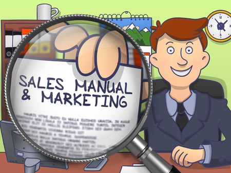 prospecting: Sales Manual and Marketing on Paper in Businessmans Hand through Magnifying Glass to Illustrate a Business Concept. Multicolor Modern Line Illustration in Doodle Style.