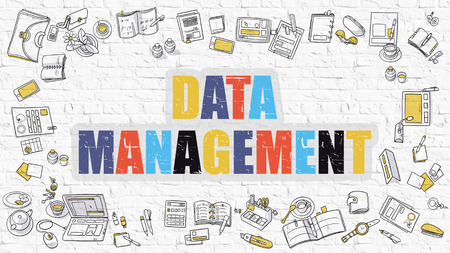 archiving: Data Management - Multicolor Concept with Doodle Icons Around on White Brick Wall Background. Modern Illustration with Elements of Doodle Design Style.