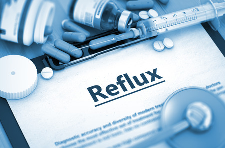 gastrointestinal system: Reflux, Medical Concept with Pills, Injections and Syringe. Reflux Diagnosis, Medical Concept. Composition of Medicaments. Reflux - Printed Diagnosis with Blurred Text. Toned Image. 3D.
