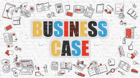 Business Case - Multicolor Concept with Doodle Icons Around on White Brick Wall Background. Modern Illustration with Elements of Doodle Design Style. Stock Photo