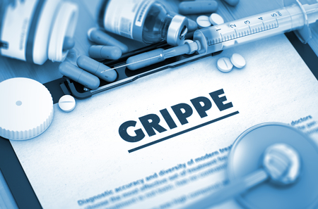 grippe: Grippe - Printed Diagnosis with Blurred Text. Grippe, Medical Concept with Pills, Injections and Syringe. Grippe - Medical Report with Composition of Medicament. Toned Image. 3D. Stock Photo