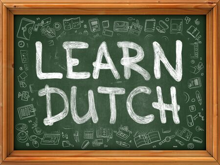polyglot: Learn Dutch Concept. Modern Line Style Illustration. Learn Dutch Handwritten on Green Chalkboard with Doodle Icons Around. Doodle Design Style of Learn Dutch Concept.