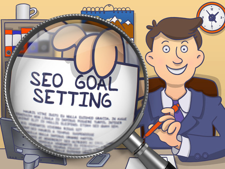 goal setting: SEO Goal Setting on Paper in Officemans Hand through Magnifier to Illustrate a Business Concept. Colored Doodle Style Illustration.
