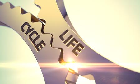 ciclo de vida: Ciclo de Vida de los engranajes met�licos de oro del diente. Ciclo de Vida - Ilustraci�n con efectos de luz brillante. Ciclo de Vida - Dise�o t�cnico. Ciclo de Vida sobre el mecanismo de ruedas dentadas de oro. 3D. Foto de archivo