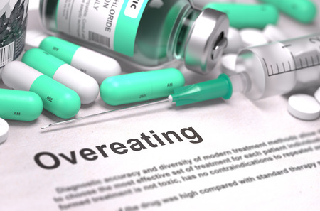 surfeit: Diagnosis - Overeating. Medical Concept with LIght Green Pills, Injections and Syringe. Selective Focus. Blurred Background. 3D Render.
