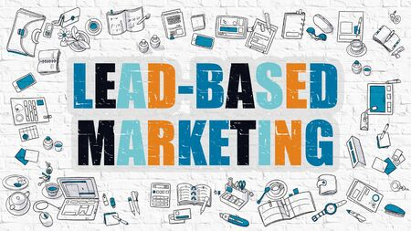 b2c: Lead-Based Marketing. Multicolor Inscription on White Brick Wall with Doodle Icons Around. Modern Style Illustration with Doodle Design Icons. Lead-Based Marketing on White Brickwall Background.