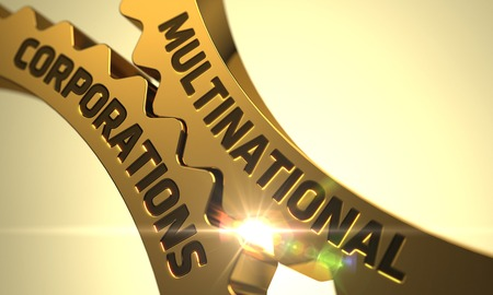 Multinational Corporations on Mechanism of Golden Cog Gears with Lens Flare. Golden Metallic Gears with Multinational Corporations Concept. Multinational Corporations - Concept. 3D Render.
