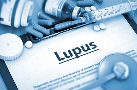 erythematosus: Lupus - Medical Report with Composition of Medicaments - Pills, Injections and Syringe. Lupus - Printed Diagnosis with Blurred Text. Toned Image. 3D Render.