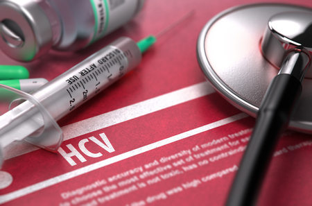 convalescence: HCV - - Hepatitis C Virus - Medical Concept with Blurred Text, Stethoscope, Pills and Syringe on Red Background. Selective Focus. 3D Render.
