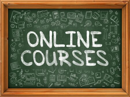 vocational training: Online Courses Concept. Modern Line Style Illustration. Online Courses Handwritten on Green Chalkboard with Doodle Icons Around. Doodle Design Style of Online Courses Concept.