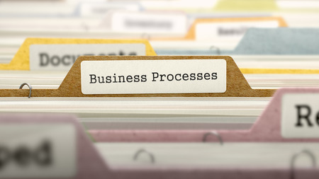 Business Processes on Business Folder in Multicolor Card Index. Closeup View. Blurred Image. 3D Render.