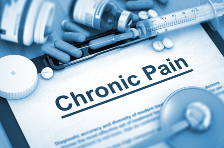 chronic pain: Diagnosis - Chronic Pain On Background of Medicaments Composition - Pills, Injections and Syringe. Toned Image. 3D Render.