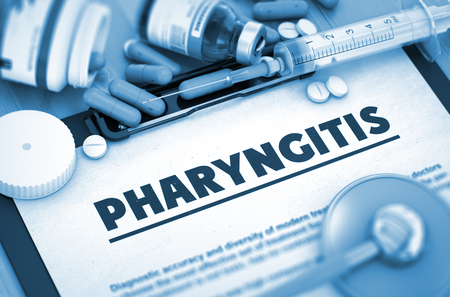 pharyngitis: Pharyngitis, Medical Concept with Pills, Injections and Syringe. Pharyngitis, Medical Concept with Selective Focus. Toned Image. 3D. Stock Photo