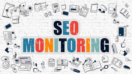 rewriting: Multicolor Concept - SEO Monitoring - on White Brick Wall with Doodle Icons Around. Modern Illustration with Doodle Design Style.