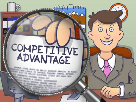 competitive: Competitive Advantage on Paper in Business Mans Hand to Illustrate a Business Concept. Closeup View through Magnifier. Multicolor Doodle Illustration.