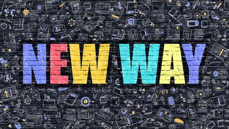 new way: Modern Line Style Illustration. Multicolored New Way Drawn on Dark Brick Wall. Stock Photo