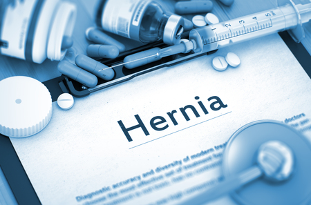 femoral: Hernia - Medical Report with Composition of Medicaments - Pills, Injections and Syringe. Diagnosis - Hernia On Background of Medicaments Composition - Pills, Injections and Syringe. Toned Image. 3D.