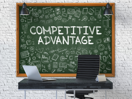 Hand Drawn Competitive Advantage on Green Chalkboard. Modern Office Interior . White Brick Wall Background. Business Concept with Doodle Style Elements. 3D. Stock Photo