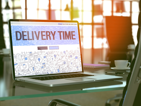 distributing: Delivery Time Concept. Closeup Landing Page on Laptop Screen in Doodle Design Style. On Background of Comfortable Working Place in Modern Office. Blurred, Toned Image. 3D Render.