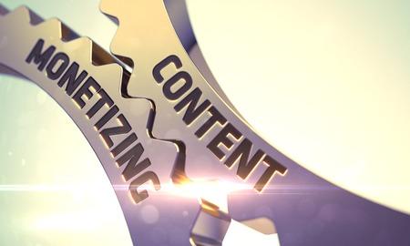 monetize: Content Monetizing - Technical Design. Golden Metallic Cog Gears with Content Monetizing Concept. Content Monetizing - Concept. Content Monetizing on the Mechanism of Golden Metallic Cog Gears. 3D.
