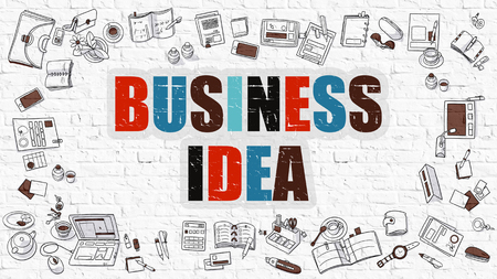 genial: Business Idea - Multicolor Concept with Doodle Icons Around on White Brick Wall Background. Modern Illustration with Elements of Doodle Design Style.
