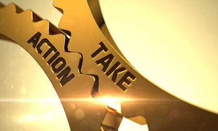 take action: Take Action on Mechanism of Golden Metallic Cog Gears with Glow Effect. Take Action Golden Metallic Gears. Take Action - Illustration with Glowing Light Effect. 3D Render.