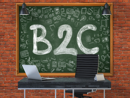 b2c: Hand Drawn B2C - Business to Consumer - on Green Chalkboard. Modern Office Interior. Red Brick Wall Background. Business Concept with Doodle Style Elements. 3D.