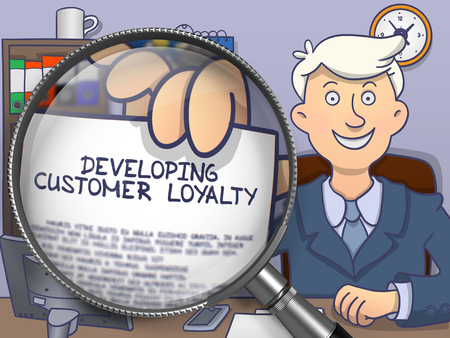 developing: Developing Customer Loyalty. Business Man Showing Paper with Inscription through Lens. Multicolor Modern Line Illustration in Doodle Style. Stock Photo