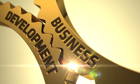 Développement des affaires - Conception technique. Business Development Cogwheels d'or. Développement des affaires - Illustration industriel avec Glow Effect et Halo lumineux. 3D.