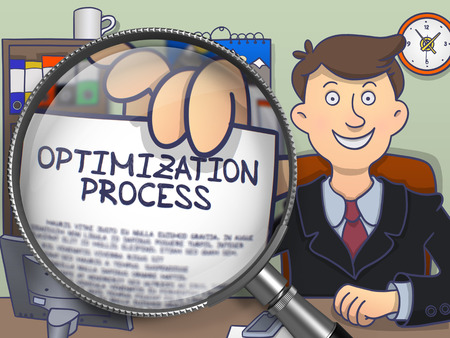 magnifying glass man: Optimization Process through Magnifying Glass. Man Holding a Paper with Inscription. Closeup View. Colored Doodle Illustration.