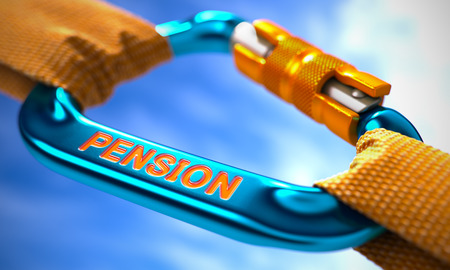 subsidize: Strong Connection between Blue Carabiner and Two Orange Ropes Symbolizing the Pension. Selective Focus. 3D Render.