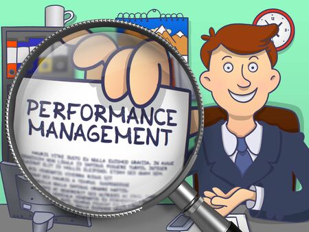 throughput: Performance Management. Text on Paper in Businessmans Hand through Magnifier. Multicolor Doodle Illustration.