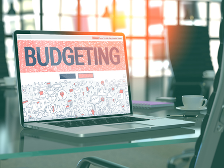 Budgeting Concept - Closeup on Landing Page of Laptop Screen in Modern Office Workplace. Toned Image with Selective Focus. 3D Render.