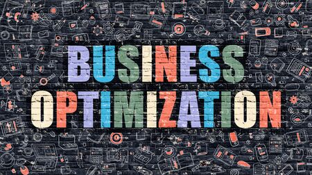 modernization: Business Optimization - Multicolor Concept on Dark Brick Wall Background with Doodle Icons Around. Illustration with Elements of Doodle Style. Business Optimization on Dark Wall. Stock Photo