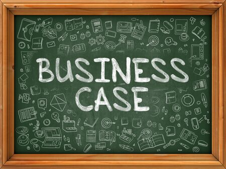 business case: Green Chalkboard with Hand Drawn Business Case with Doodle Icons Around. Line Style Illustration.