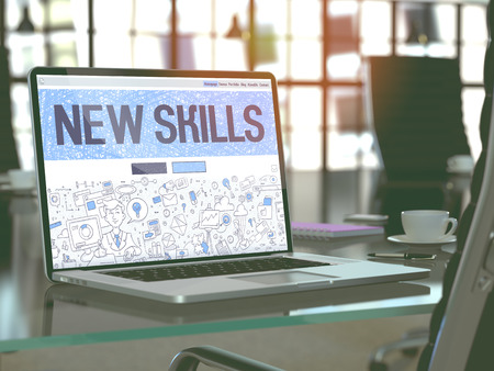 learning new skills: New Skills - Closeup Landing Page in Doodle Design Style on Laptop Screen. On Background of Comfortable Working Place in Modern Office. Toned, Blurred Image. 3D Render.