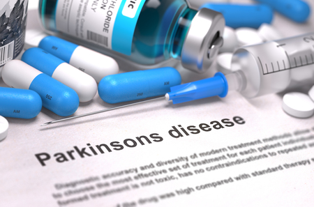 parkinson's disease: Diagnosis - Parkinsons Disease. Medical Report with Composition of Medicaments - Blue Pills, Injections and Syringe. Blurred Background with Selective Focus. 3D Render.