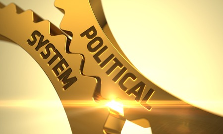 sovereignty: Political System on Mechanism of Golden Metallic Cogwheels with Lens Flare. Political System on the Mechanism of Golden Metallic Cogwheels with Glow Effect. 3D Render.
