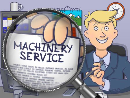 enginery: Machinery Service. Officeman Holds Out a Text on Paper through Magnifier. Colored Doodle Style Illustration. Stock Photo