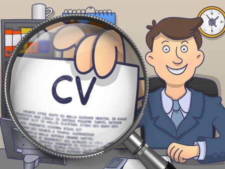 curriculum vitae: CV - Curriculum Vitae. Cheerful Man in Office Showing Text on Paper through Lens. Multicolor Modern Line Illustration in Doodle Style.