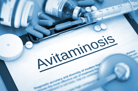 blindness: Diagnosis - Avitaminosis On Background of Medicaments Composition - Pills, Injections and Syringe. Avitaminosis - Printed Diagnosis with Blurred Text. Toned Image. 3D Render.